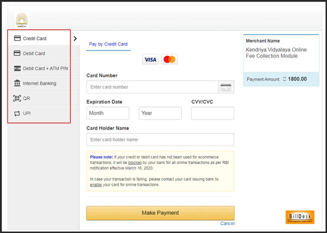 kvs-fee-payment    kvskolkata.org.in